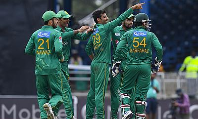 Shadab Khan celebrating a wicket