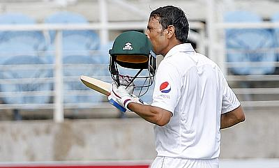 Younis Khan celebrating on reaching 10,000 Test runs