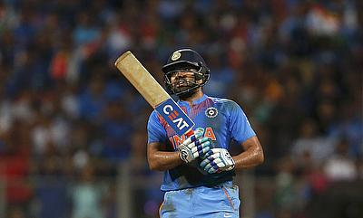 Rohit Sharma was not happy with a decision given by umpire Ravi on a wide