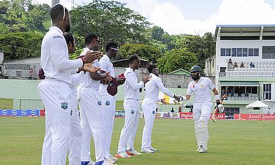 Misbah ul Haq (right) was given a guard of honour by West Indies team