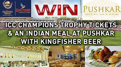 Win ICC Champions Trophy Tickets & An Indian Meal at Pushkar With Kingfisher Beer