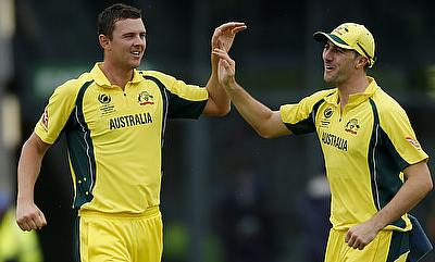 Josh Hazlewood (left) picked a six wicket haul in the game