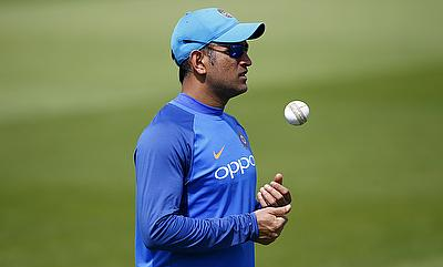 MS Dhoni in a practice session ahead of the Sri Lankan game
