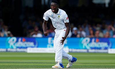 Kagiso Rabada celebrating the wicket of Ben Stokes on day one