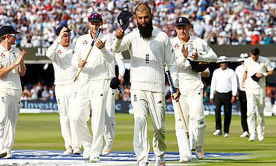 England's Moeen Ali walks off at the end of the match