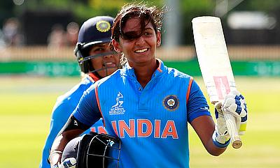 Harmanpreet Kaur walks off after her record breaking knock of 171*