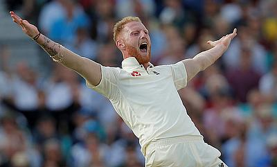 Ben Stokes celebrating the wicket of Faf du Plessis on day four