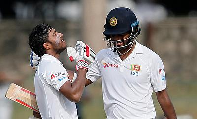 Kusal Mendis (left) and Dimuth Karunaratne shared 191 run stand between them on day three