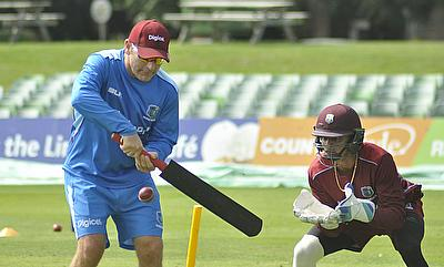 Ryan Maron (left) in action with the West Indies team