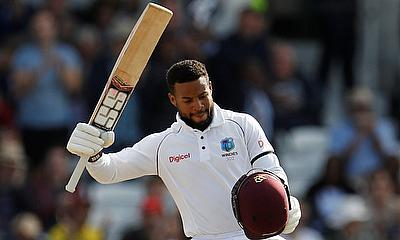 Shai Hope celebrating his century on day two of Headingley Test