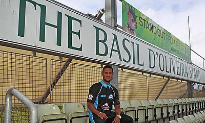 Worcestershire's Brett D'Oliveira poses in the stand named after his grandfather