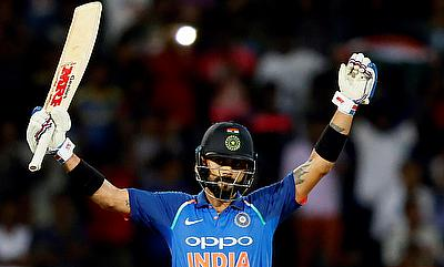 Virat Kohli celebrating his 30th ODI century in Colombo