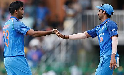 Jasprit Bumrah (left) and Bhuvneshwar Kumar were impressive in the game in Chennai
