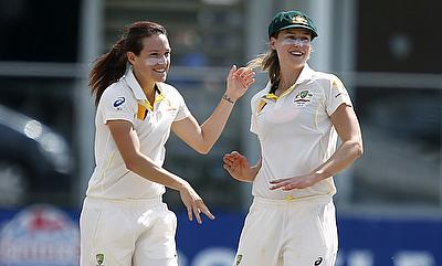 Megan Schutt (left) picked two wickets in the second innings