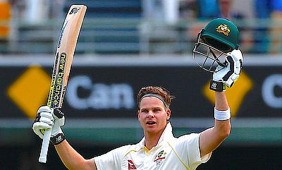 Steven Smith celebrating his century on day three of the Brisbane Test