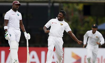 Rangana Herath (centre) will be hoping to repeat his performance against West Indies from the 2015 series