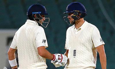Joe Root (left) showed great determination in the final session on day four of Adelaide Test
