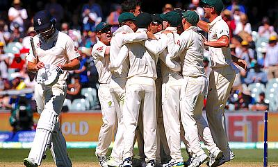 Australian players celebrating the win in the Adelaide Test