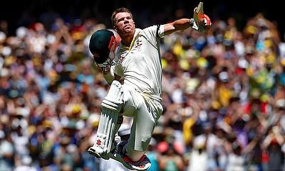 David Warner celebrating his century in the opening day of the Boxing Day Test