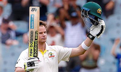 Australia's captain Steve Smith reacts after reaching his century during the fifth day of the fourth Ashes cricket test match