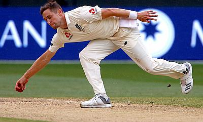 Chris Woakes in action during the Melbourne Test