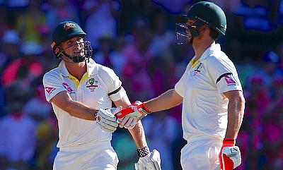 Australia's Mitchell Marsh and Shaun Marsh shake hands during the third day of the fifth Ashes Test