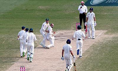 Nathan Lyon and Australia celebrating the wicket of Dawid Malan