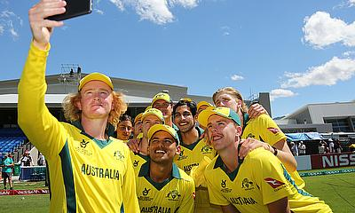 Australia players posing after their win over England in the quarter-final