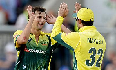 Ashton Agar (left) and Glenn Maxwell were named player of the match and the series respectively