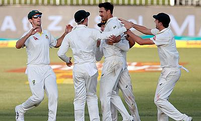 Australia celebrates the wicket of South Africa's Morne Morkel.