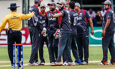 UAE players during the warm-up game against West Indies