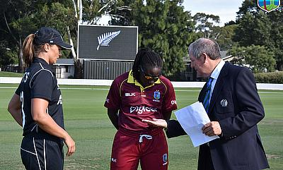 Coin toss before the start of the match Windes vs New Zealand ICC Women's Championships