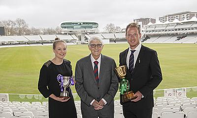 Lancashire Captain and Essex Vice-captain Meg Faircough and Tom Westley with Sir Michael Parkinson