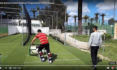 Preparation of the practice nets for Sussex and Kent - Malta Seniors Cricket Festival