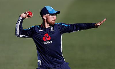 England's Jack Leach during nets ahead of the second Test in Christchurch