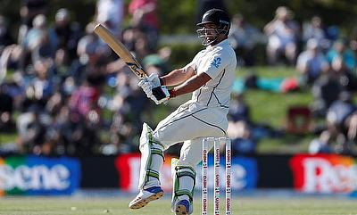 Colin de Grandhomme in action for New Zealand during Christchurch Test