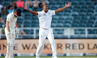 South Africa's Vernon Philander celebrates taking the wicket of Australia's Usman Khawaja
