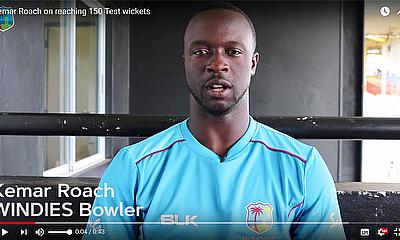 Kemar Roach reaches his 150th  Test Wicket