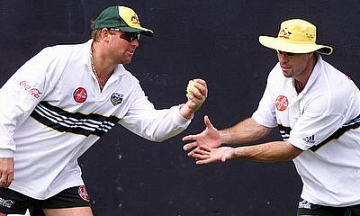 Shane Warne and Michael Bevan in Training
