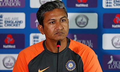 Sanjay Bangar assistant coach of the Indian Cricket Team speaks to the media