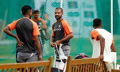 India's Shikhar Dhawan during nets