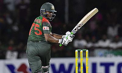 Shakib-Al-Hasan swings into the leg-side