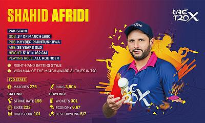 UAE T20x Goes 'Boom Boom' as Shahid Afridi announced as Player Icon