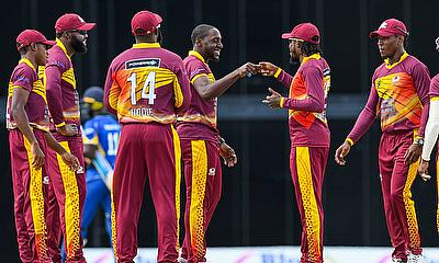 Players celebrate in the WINDIES Super50