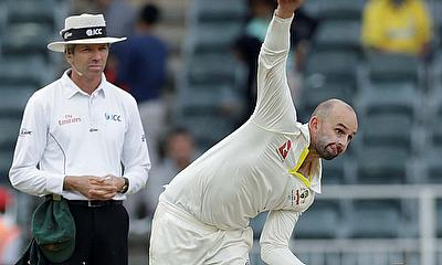 Australia's Nathan Lyon in action