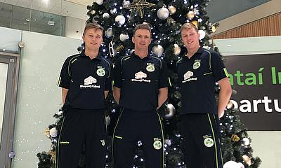 Jack Tector, Pete Johnston and Harry Tector (at Dublin Airport prior to departure)