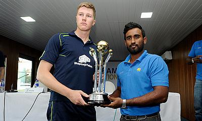Sri Lanka _A_ Captain Ashan Priyanjan and Ireland Wolves Captain Harry Tector with the Trophy