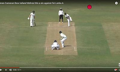 James Cameron Dow Ireland Wolves hits a six  against  Sri Lanka A