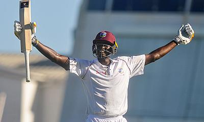 Jason Holder celebrates his double century. He made 202 not out.
