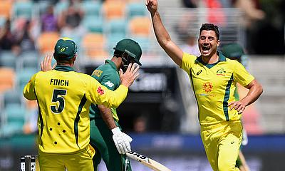 Australia's Marcus Stoinis celebrates taking the wicket